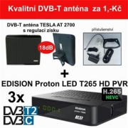 3x DVB-T2/C EDISION Proton LED T265 HD + 1ks anténa TESLA AT 2700