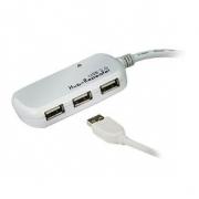 Aktivní Prodlužovací Kabel USB 2.0 USB A Zástrčka - 4x USB Hub 12 m Slonová Kost