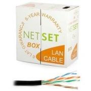 Kabel UTP Cat5e PE gelový černý NETSET (venkovní) [1m]