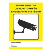 Samolepka - tento prostor je monitorován kamerovým systémem 14x10 cm