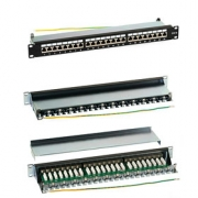 Patch Panel (1U, 24 FTP CAT6 portů + držák na kabel)