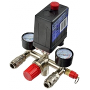 Tlakový spínací ventil + ukazatele tlaku pro vzduchový kompresor - náhradní díl, GEKO