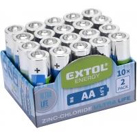 Baterie zink-chloridové, 20ks, 1,5V AA (R6) EXTOL-LIGHT