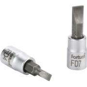 """Hlavice zástrčná šroubovák plochý, 1/4"""", 7mm, L 37mm, CrV/S2, FORTUM"""