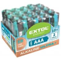 Baterie alkalické EXTOL ENERGY ULTRA +, 20ks, 1,5V AAA (LR03) EXTOL-LIGHT