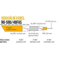 Koaxiální kabel RG-59U/48FAS 100 m, pěna 5,0 mm