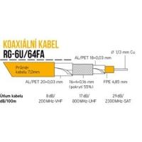 Koaxiální kabel RG-6U/64FA 305m PE 7mm černý cívka venkovní