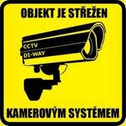 """CCTV nálepka """"objekt je střežen kamerovým systémem"""","""