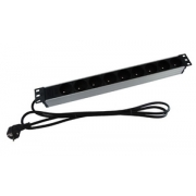 """Rozvodný panel / zásuvková lišta 9x230V pro 19"""" skříň 1U 1,8m kabel černý"""