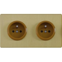 Luxusní Govena dvojzásuvka s ochranným kolíkem, broušená mosaz