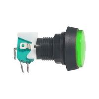 Přepínač tlačítko kul. ON-(ON) 250V/10A s mikrospínačem zelené