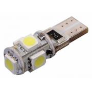 Žárovka 5 SMD LED 12V T10 s rezistorem CAN-BUS ready bílá, COMPASS