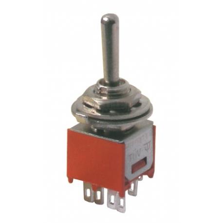 Přepínač páčkový     3pol./6pin  ON-OFF-ON mini