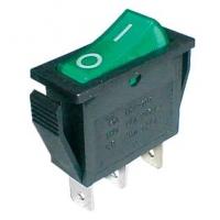 Přepínač kolébkový    2pol./3pin  ON-OFF 250V/15A pros. zelený