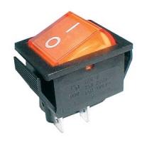 Přepínač kolébkový  2pol./4pin  ON-OFF 250V/15A pros. žlutý