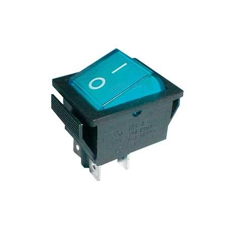 Přepínač kolébkový  2pol./4pin  ON-OFF 250V/15A pros. modrý