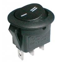 Přepínač kolébkový kul.  2pol./3pin  ON-ON 250V/6A černý
