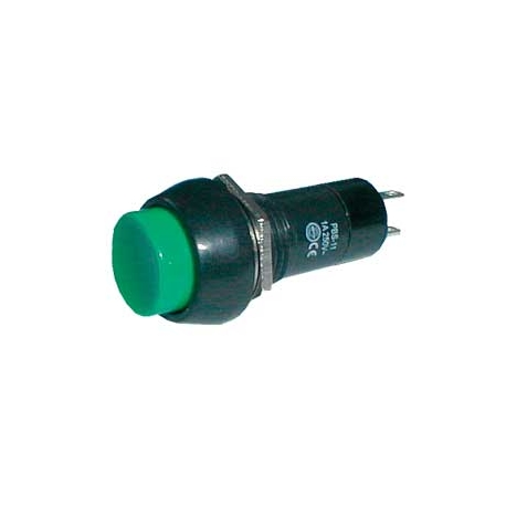 Přepínač tlačítko kul.  ON-OFF 250V/1A zelené