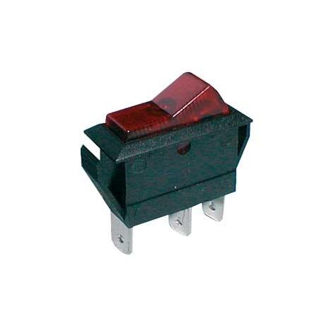 Přepínač kolébkový    2pol./3pin  ON-OFF 20A/12VDC pros. červený