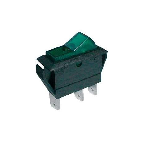 Přepínač kolébkový    2pol./3pin  ON-OFF 20A/12VDC pros. zelený