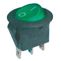Přepínač kolébkový kul. pros.  2pol./3pin  ON-OFF 16A/12VDC zelený