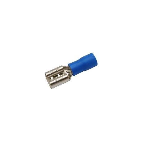 Zdířka faston 6.3mm ,vodič 1.5-2.5mm  modrá