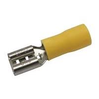 Zdířka faston 6.3mm ,vodič 4.0-6.0mm  žlutá