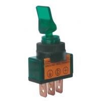 Přepínač páčkový   2pol./3pin  ON-OFF 12VDC prosv. zelený