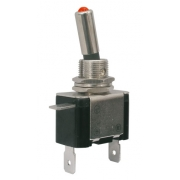 Přepínač páčkový   2pol./2pin  ON-OFF 12VDC/25A  LED červená