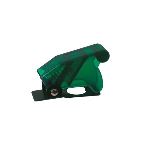 Přepínač páčkový  ochran.kryt - transp. zelená