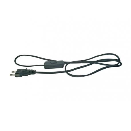 Flexo šňůra PVC 2x0,75mm 2m černá s vypínačem