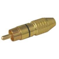 Konektor CINCH kabel kov zlatý pr.6mm černý