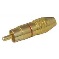 Konektor CINCH kabel kov zlatý  pr.5-6mm červený