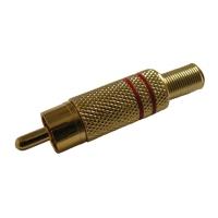 Konektor CINCH kabel kov zlatý  červený