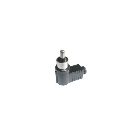 Konektor CINCH kabel  plast úhlový černý