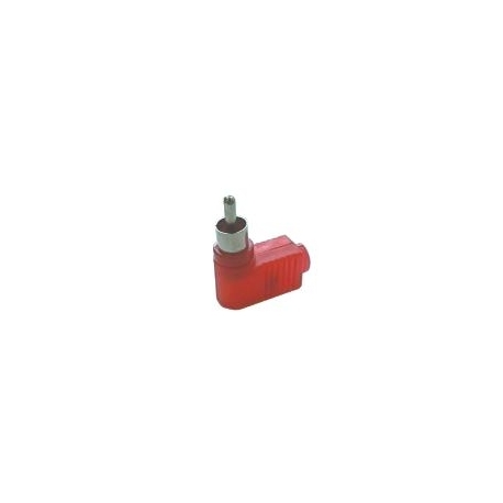 Konektor CINCH kabel  plast úhlový červený