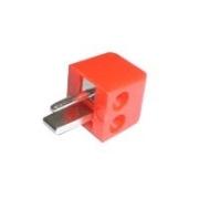 Konektor repro šroubovací úhlový červený