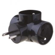 Zásuvka rozbočovací 3x kulatá, černá