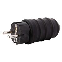 Vidlice gumová přímá pro prodlužovací kabel, černá