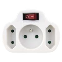 Rozbočovací zásuvka 2× plochá + 1× kulatá s vypínačem, bílá