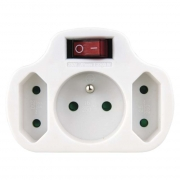 Zásuvka rozbočovací 2x plochá + 1x kulatá s vypínačem, bílá
