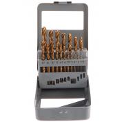 Vrtáky do kovu v kovové krabičce, sada 19ks, 1-10mm, po 0,5mm, GEKO
