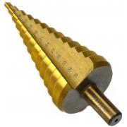 Vrták stupňovitý, 4-39mm, stupňování po 3mm, 13 otvorů, stopka 13mm, TiN GEKO
