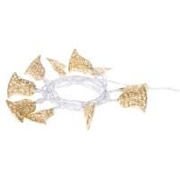 LED vánoční girlanda – zlaté zvonečky, 2× AA, teplá b., čas