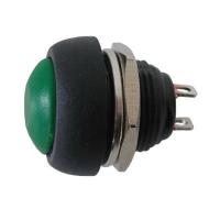 Přepínač tlačítko kul.  OFF-(ON)  střed zelený