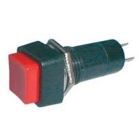 Přepínač tlačítko čtv. ON-OFF 250V/1A červené