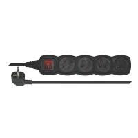 Prodlužovací kabel s vypínačem 4 zásuvky  5m černý