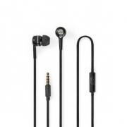 Kabelová Sluchátka | 1,2m Kulatý Kabel | Do Uší | Vestavěný Mikrofon | Černá