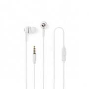 Kabelová Sluchátka | 1,2m Kulatý Kabel | Do Uší | Vestavěný Mikrofon | Bílá