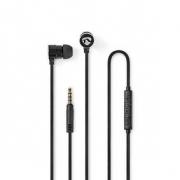 Kabelová Sluchátka | 1,2m Kulatý Kabel | Do Uší | Vestavěný Mikrofon | Hliníková | Černá